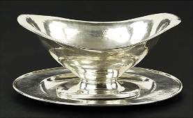A Lebolt Hand Hammered Sterling Silver Footed Bowl.