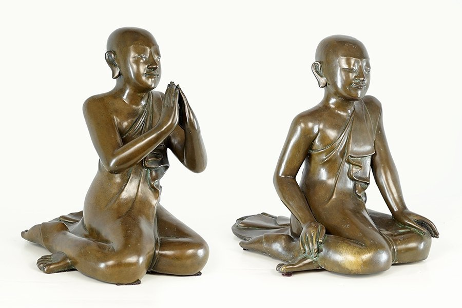 Two Burmese Bronze Seated Disciples.
