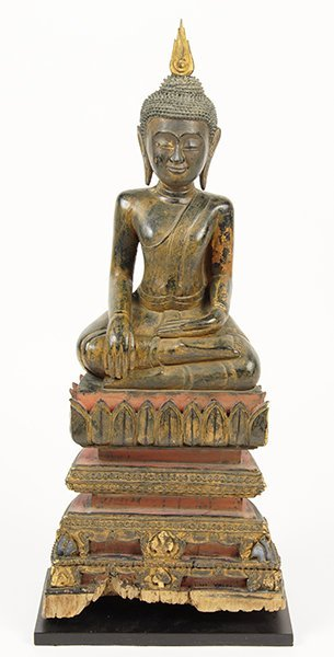A 19th Century Thai Carved Wood Buddha.