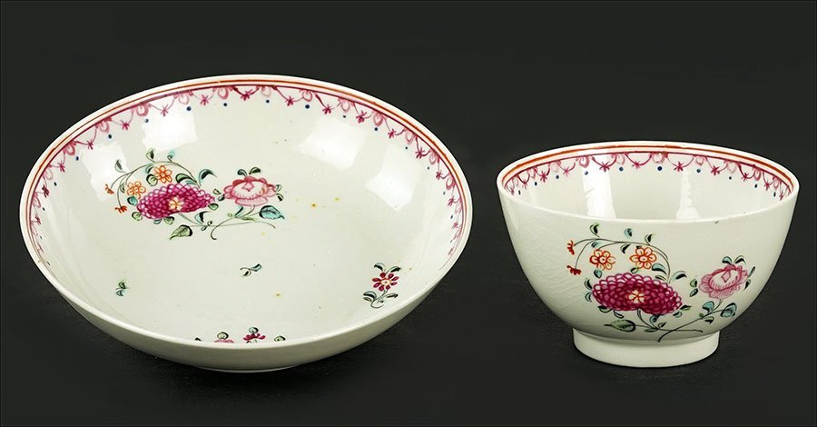 A Chinese Export Porcelain Tea Cup and Saucer.