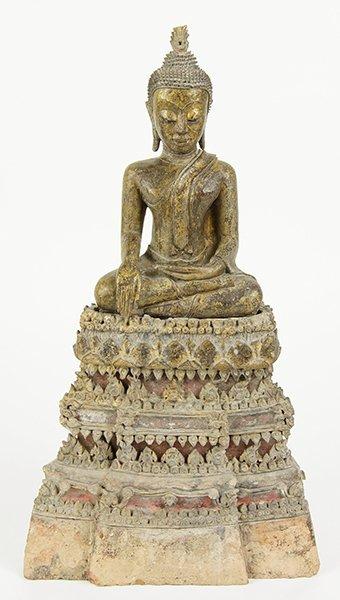 A 19th Century Thai Terra Cotta Buddha.