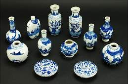 A Collection Of Twelve Chinese Blue And White Porcelain
