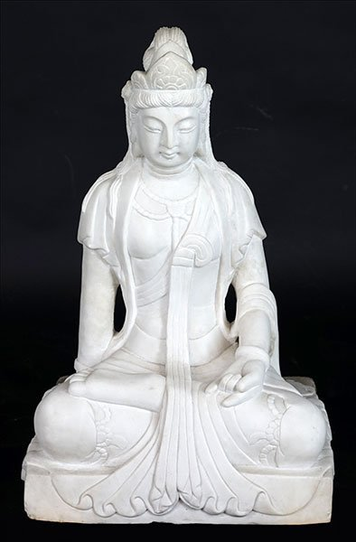 A Carved Marble Seated Buddha.
