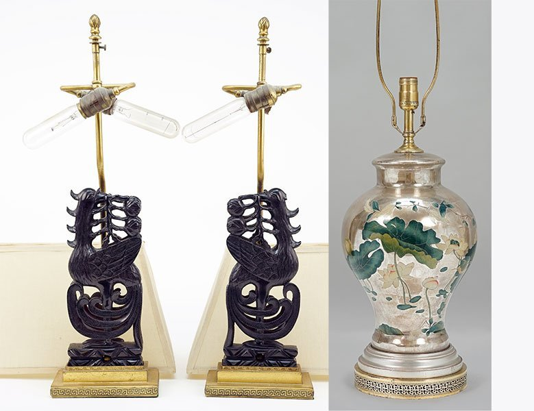 A Pair of Carved Cherry Amber Table Lamps.