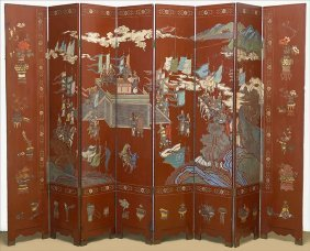 A Chinese Eight Panel Screen.