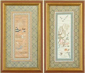 Two Chinese Embroidered Silk Panels.
