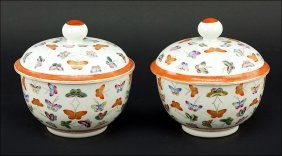 A Pair Of Chinese Porcelain Covered Bowls.