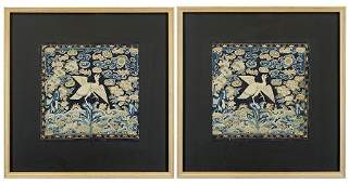 A Pair of Chinese Rank Badges / Squares.