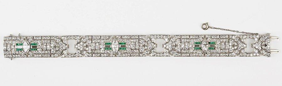 An Art Deco Diamond, Emerald, And Platinum Bracelet.