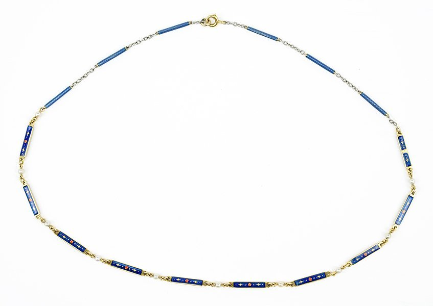 A Gold and Enamel Link Necklace.