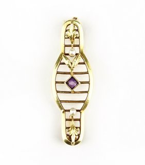 A 14 Karat, Amethyst And Pearl Brooch.