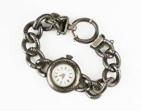 A Lady's Niello Enamel Watch.