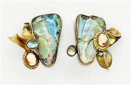 A Pair of Opal Earclips