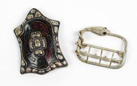 An Art Nouveau Bohemian Garnet Snake Form Belt Buckle.