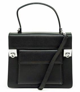 A Salvatore Ferragamo Black Leather Handbag.