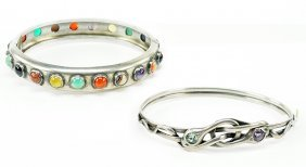 A Semi-precious Stone And Sterling Silver Bracelet.