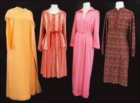 A Claudia By George Halley Orange Chiffon Dress.