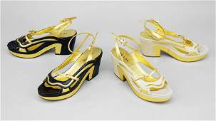 Two Pairs Of Prada Fairy Collection Leather Platform
