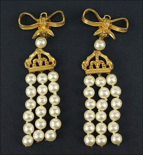 A Pair Of Chanel Earclips.