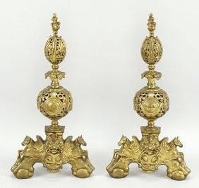 A Pair Of Italian Baroque Style Andirons.