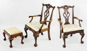 A Pair Of Chippendale Style Armchairs.