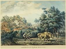 Currier  Ives American 19th Century American Farm