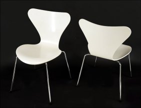 A Set Of Four Fritz Hansen Series 7 Chairs.