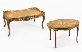 Two Inlaid Mahogany Cocktail Tables.