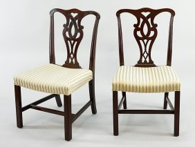 A Pair Of Chippendale Style Mahogany Side Chairs.