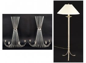 A Pair Of Stainless Steel Sconces.