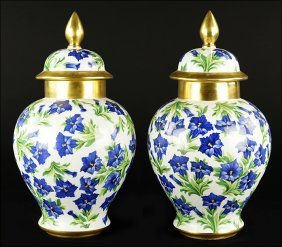 A Pair Of Transfer Decorated Bavarian Porcelain Lidded