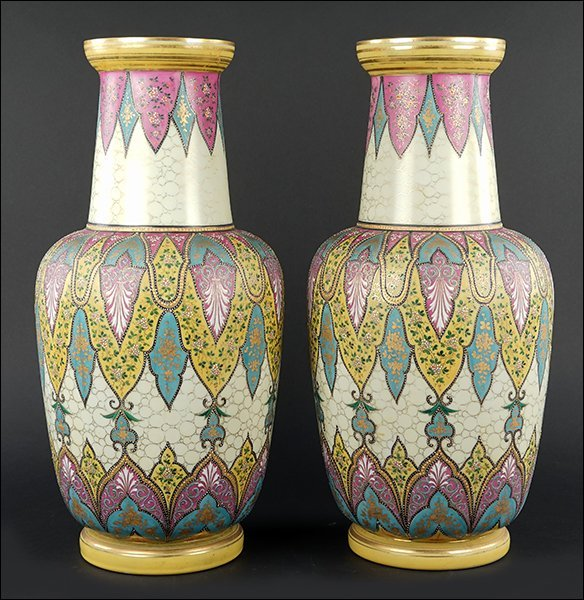 A Pair of Continental Cased Glass Vases.