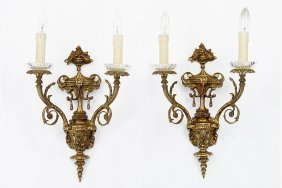 A Pair Of Gilt Bronze Two-light Wall Sconces.