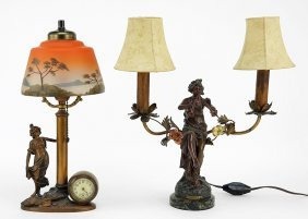 Two Art Nouveau Style Patinated Metal Figural Lamps.