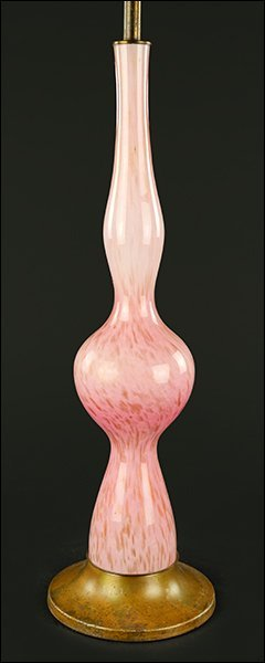 An Italian Pink Glass Table Lamp.