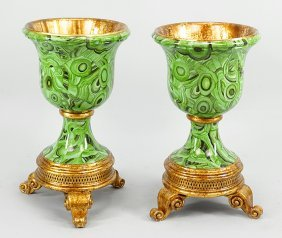 A Pair Of Faux Malachite Urns.