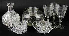 A Set Of Eight Etched Crystal Water Goblets.