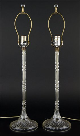 A Pair Of Stiffel Crystal Table Lamps.
