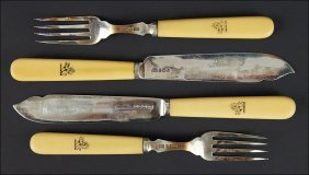 An English Silver And Bone Flatware Service.