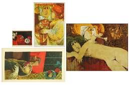 Sunol Alvar (Spanish, B. 1935) Four Color Lithographs.