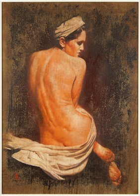 Artist Unknown (contemporary) Seated Nude.