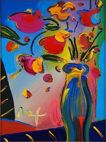 Peter Max (American, B. 1937) Flowers.
