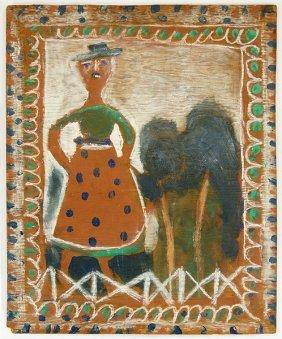 Jimmy Lee Sudduth (american, 1910-2007) Woman In A