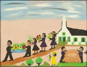 Clementine Hunter (american, 1886-1986) Funeral Scene.