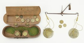 An 18th Century Coin Scale Set.