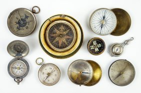 A Collection Of Compasses.