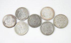 Seven Morgan Silver Dollars.