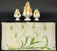 A Three-Piece Italian Ceramic Centerpiece.