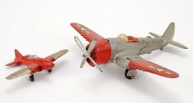 Two Hubley Navy Fighter Airplanes.