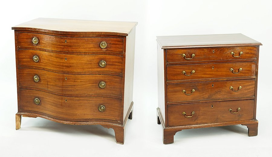 A Hepplewhite Style Mahogany Bow Front Chest of
